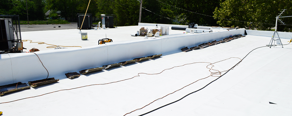 A TPO roof that is being installed.