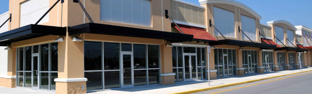 A commercial strip mall that was just built.
