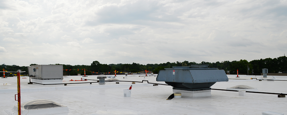 A commercial TPO roof.