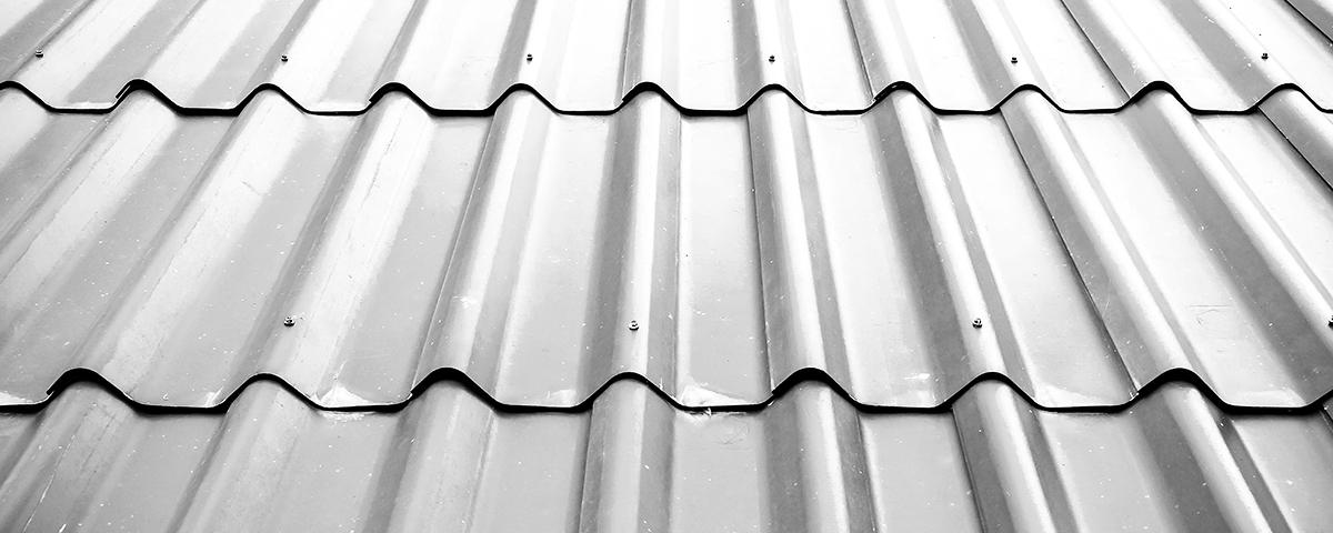 A closeup of a metal roof.