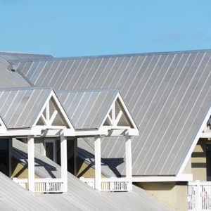 A sloped metal roof on a home.