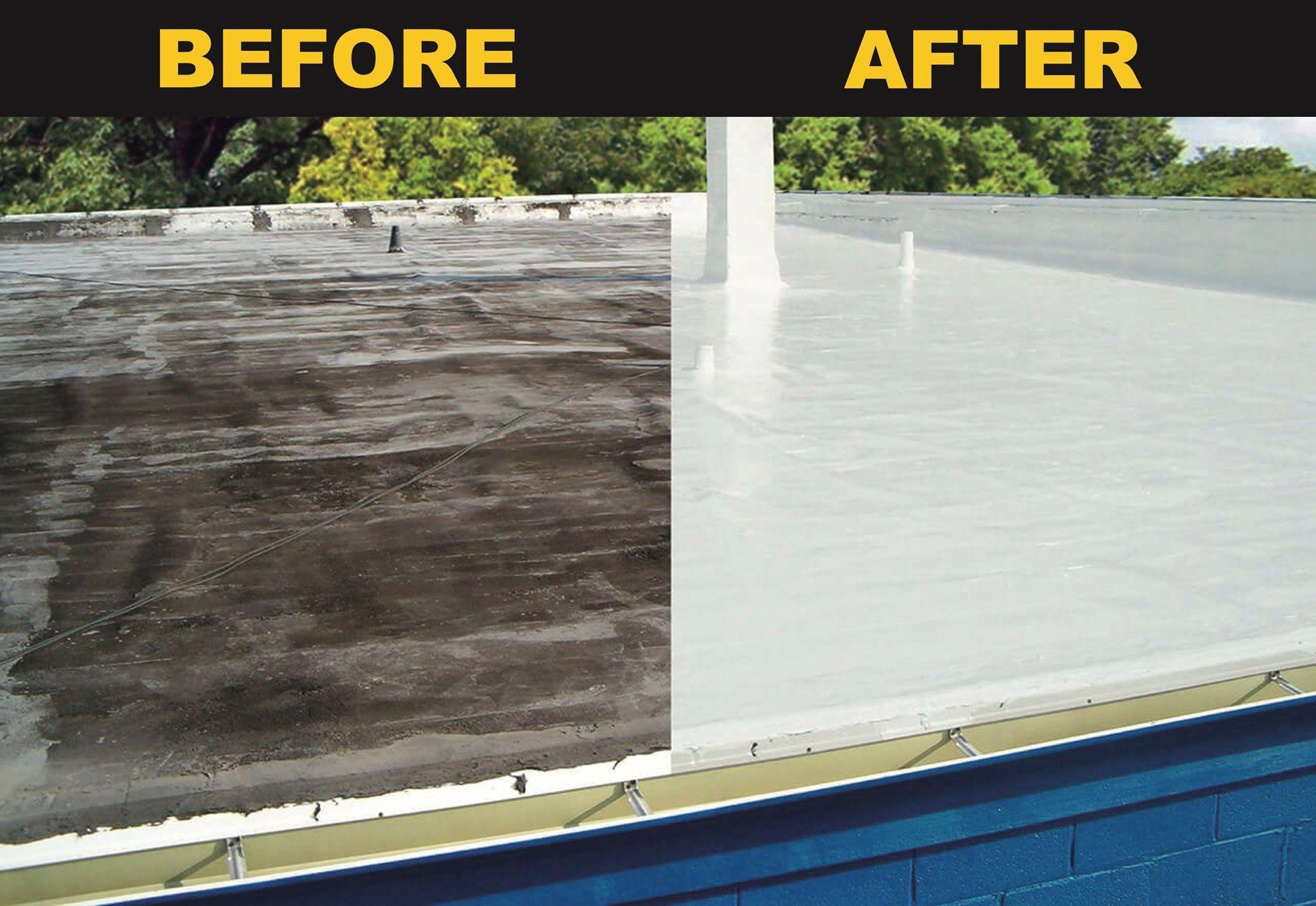 A before and after of a new liquid coated roof.